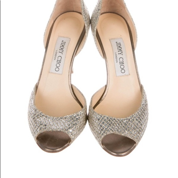 10b6f9325e Jimmy Choo Shoes | Woven Glitter Peeptoe Pumps | Poshmark